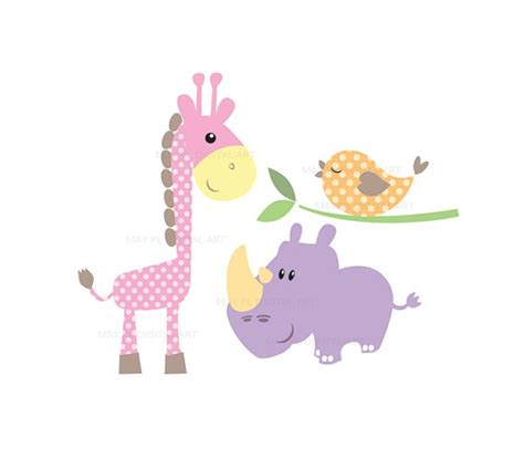 Baby Animal Clipart Baby Shower by Baby Animals Clipart Diy Baby Shower Pastel Elephant