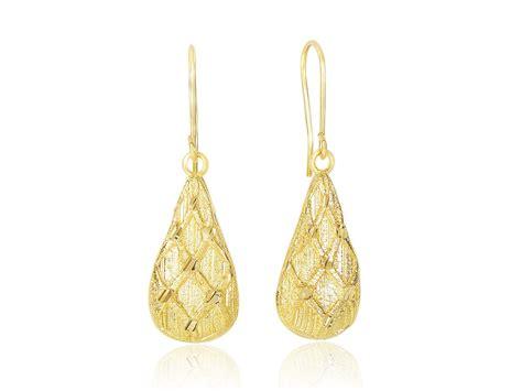 pattern for gold earrings textured diamond pattern teardrop earrings in 14k yellow
