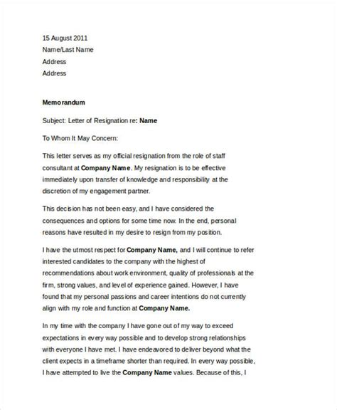 Best Resignation Letter With Regret 49 Resignation Letter Exles