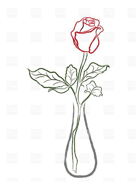 Black Bud Vase Outlines Of Red Rose In A Vase Royalty Free Vector Clip