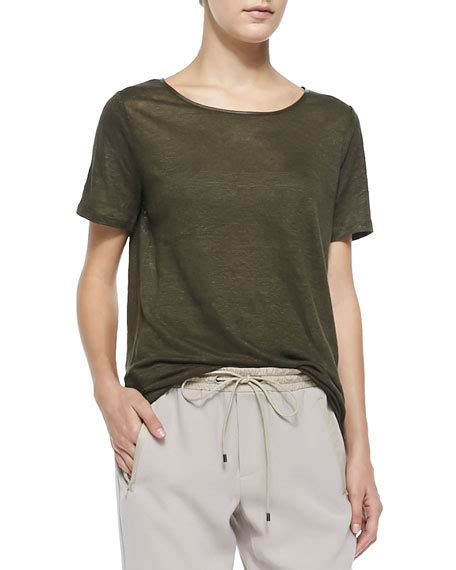 vince boat neck tee w piping pull on drawstring jogging - Boat Neck Piping