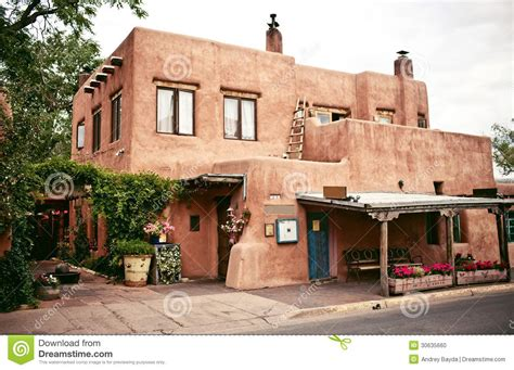 Southwest Style Home Plans Historical Houses Of Santa Fe New Mexico Stock Photo