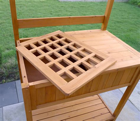 wood potting benches merry products wood potting bench with recessed storage