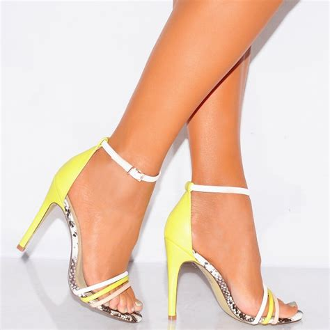 yellow strappy high heels yellow snake white barely there stilettos strappy sandals