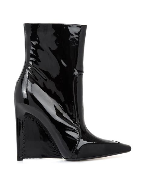 balenciaga patent leather stiletto wedge boots in black lyst