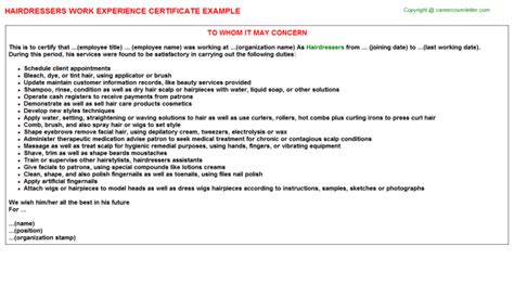 Work Experience Letter For Beautician Hair Salon Receptionist Work Experience Certificates