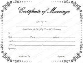 marriage license template vintage flowers marriage certificate template ministry