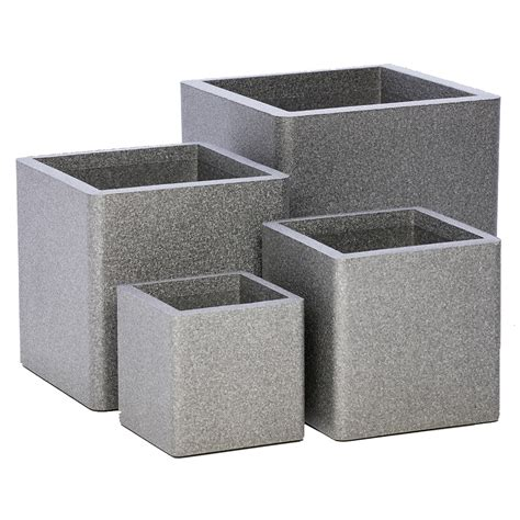Square Planter by Iqbana Square Planter Set Of 4 In Grey Next Day Delivery