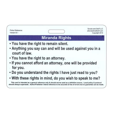 printable rights card miranda rights phonetic alphabet horizontal badge card