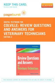 review questions  answers  veterinary technicians pageburst digital book retail access