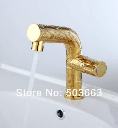 Gold Color Bathroom Faucets by Gold Color Finish Single Handle Brass Basin Mixer Tap