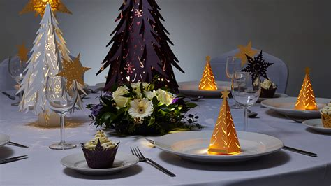 corporate christmas party laser cut decorations and table
