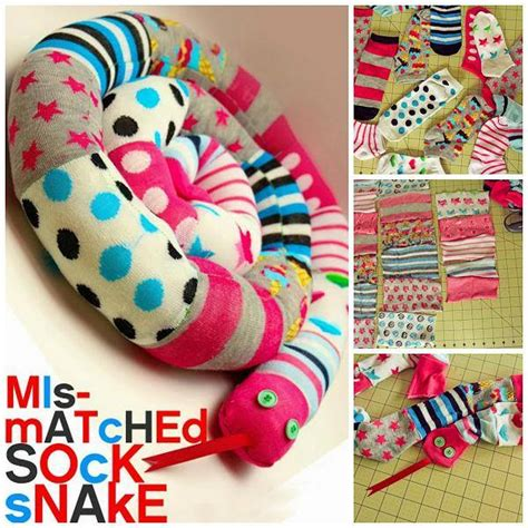 diy socks projects diy snake from mismatched socks find projects to