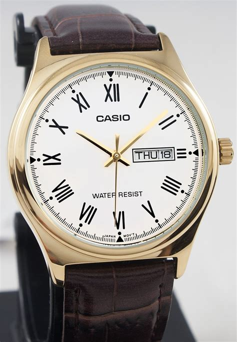 Casio Mtp V006gl 7b In Collection casio mtp v006gl 7b mens analog gold tone brown leather band day great watches