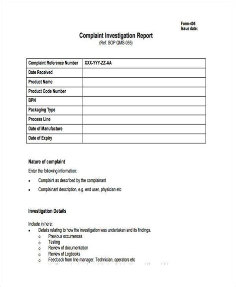 sle investigation report format formal investigation report template 28 images
