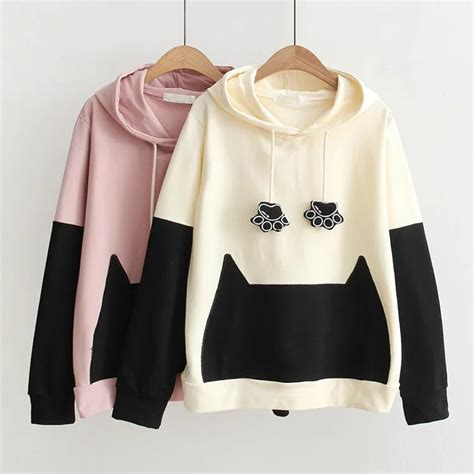 Sweater Paw Kawaii free dhl shipping kawaii cat paw hooded sweater on storenvy
