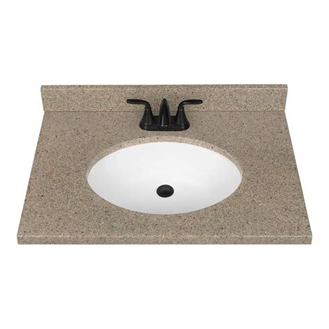 Solid Surface Bathroom Vanity Tops Shop Nutmeg Solid Surface Integral Bathroom Vanity Top Common 31 In X 22 In Actual 31 In X