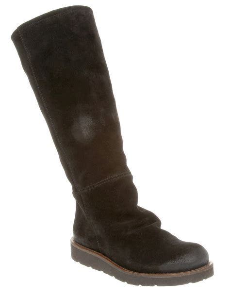 womens office crawl slouch boot black suede boots ex