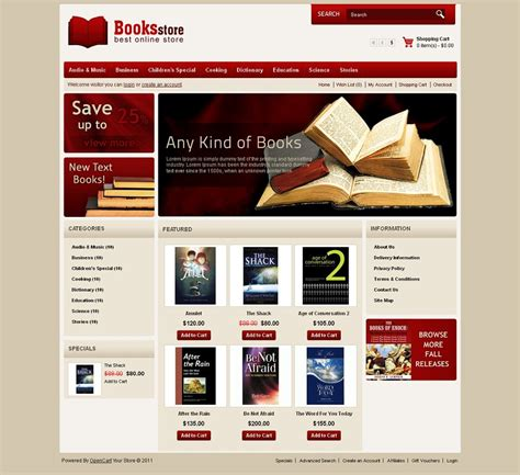 opencart bookstore template image collections templates