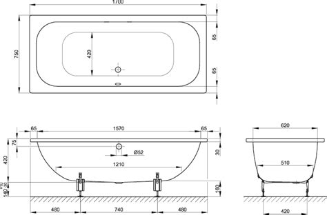 dimensions of a bathroom bette duett rectangular steel bath 1700 215 750 bathroom