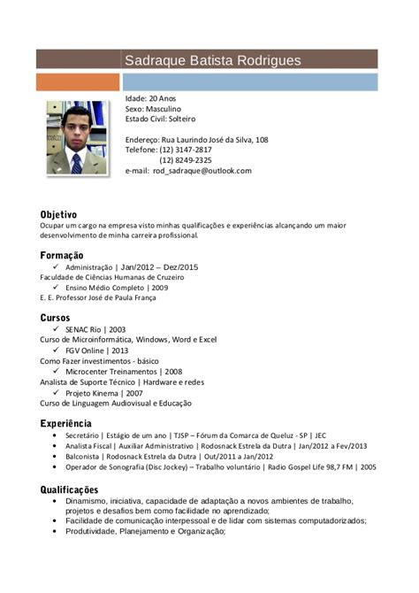 Modelo Curriculum Asistente Administrativo sadraque batista rodrigues curriculum atualizado