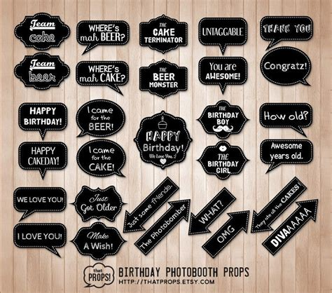 photo booth props printable word bubbles birthday photobooth props digital instant download door