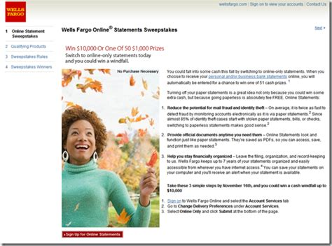 Wells Fargo Bill Pay Sweepstakes - bb t pushes online statements on homepage finovate
