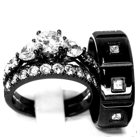 black wedding ring her his and hers 925 sterling silver stainless steel wedding