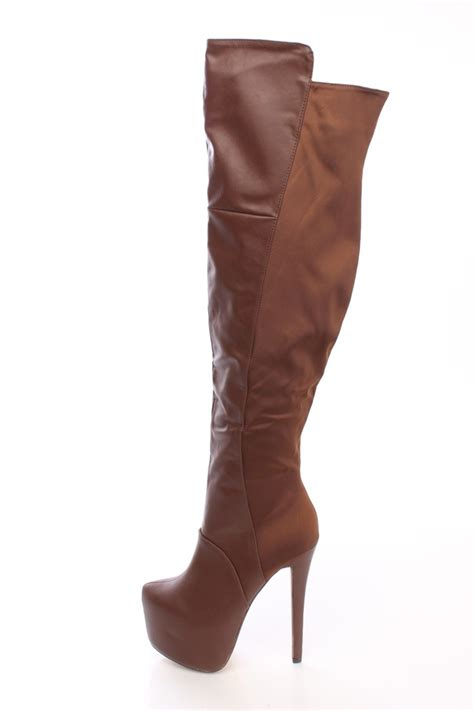 brown thigh high boots brown thigh high platform heel boots faux leather