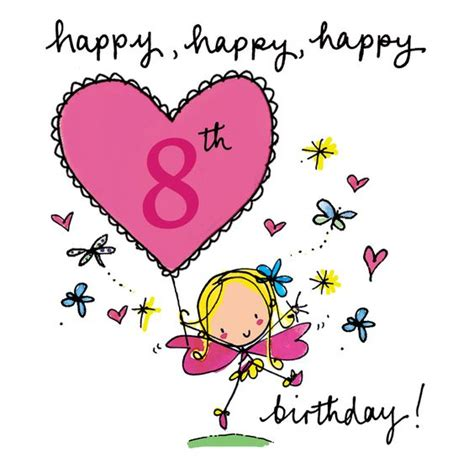 Happy 8th Birthday Quotes Happy 8th Birthday Fairy Age Cards Pinterest 8th
