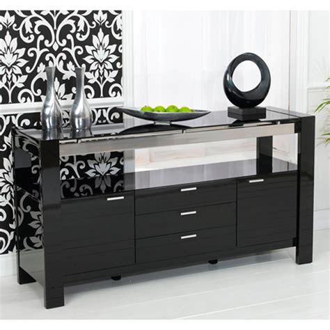 Lexus High Gloss Black Glass Sideboard 13181 Furniture in