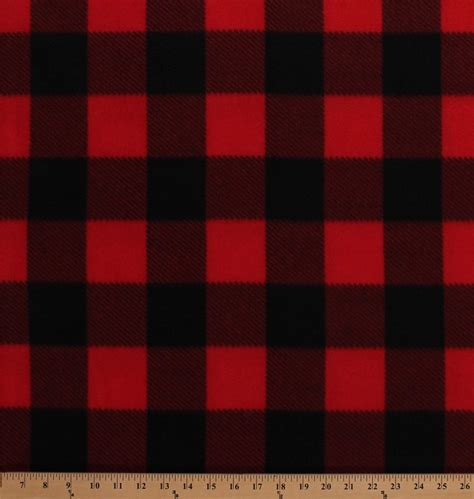 Checkered Background Check Fleece Black Buffalo Plaid Checks Checkered Squares Fleece Fabric Print By The