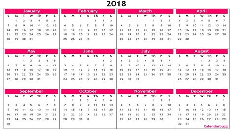 2018 Yearly Calendar Printable Templates Of Word Excel Pdf Calendarbuzz 2018 Yearly Calendar Template Excel