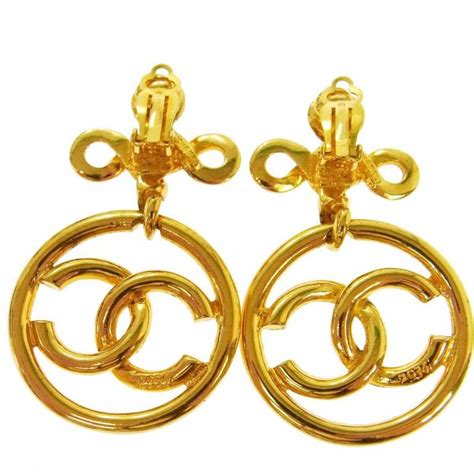 chanel vintage gold curly spiral charm dangle drop hoop