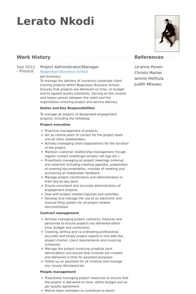 Project Administrator Resume by Project Administrator Resume Sles Visualcv Resume