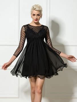 Dotted Sleeve A Line Dress black cocktail dresses cheap black cocktail