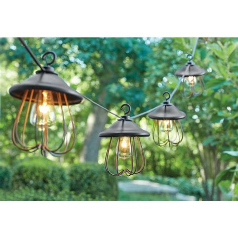 Patio Lantern Lights Hton Bay 8 Light Decorative Bronzed Patio Cafe String Light Kf98060 The Home Depot