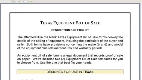 equipment bill of sale template free printable equipment bill of sale template form generic