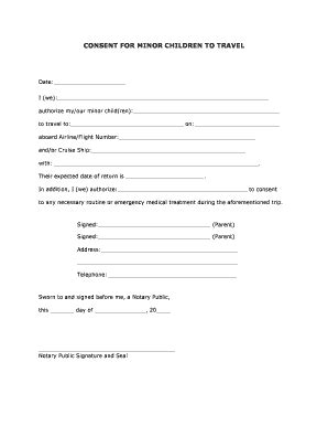 parent authorization letter for unaccompanied minors free consent child form fill printable fillable