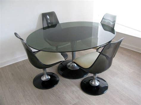ebay 1970s chromcraft smoke glass dining table and