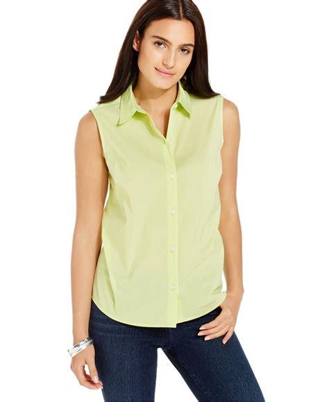 Dress Hodie New York jones new york sleeveless pinstripe button front shirt in yellow lyst