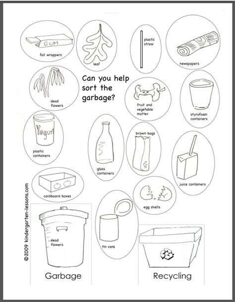 Recycle Worksheets by Recycling For 2 Kindergarten Lessons