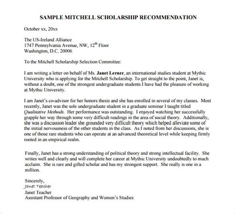 Scholarship Recommendation Letter Template Word Letters Of Recommendation For Scholarship 26 Free Sle Exle Format Free Premium