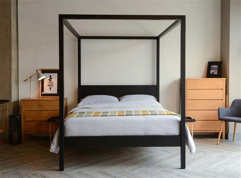 cube modern four poster bed natural bed company new black four poster orchid natural bed company