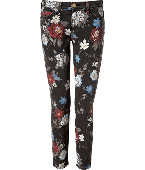 patterned jeans trend floral print jeans current elliott five pocket cropped low