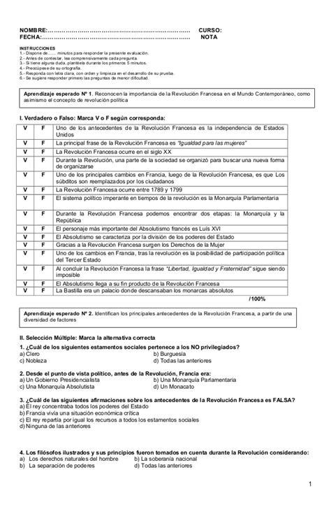 preguntas revolucion francesa prueba 2 octavo revolucion francesa