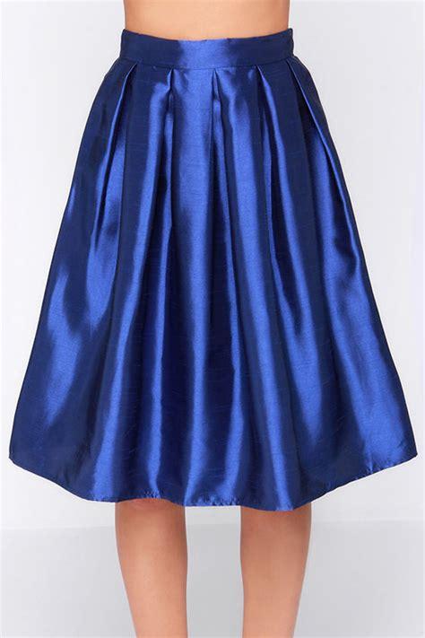 royal blue skirt midi skirt pleated skirt 34 00