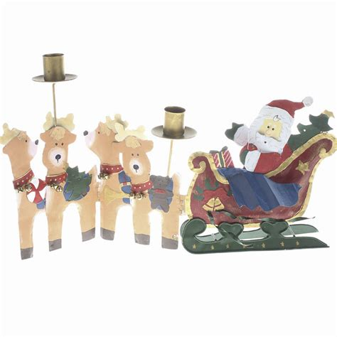 santa and reindeer taper candle holder table decor