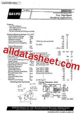 transistor k2161 k2161 fiche technique pdf sanyo semicon device