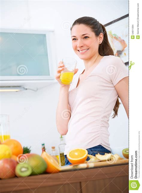 The Juice Kitchen by With Orange Juice In The Kitchen Stock Photo